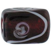 Lampwork Czech - Silver Foil Rectangle Swirl 11/8mm-Ruby