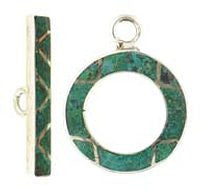 Silver Toggle Clasp - 20m Tourquise Green