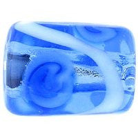 Lampwork Czech - Silver Foil Rectangle Swirl 11/8mm-Sapphire