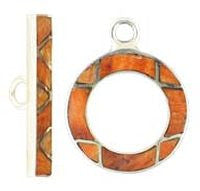 Silver Toggle Clasp - 20m Orange Sponge Coral