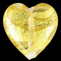 Lampwork Czech-18x18 Gold Foil Heart-Crystal