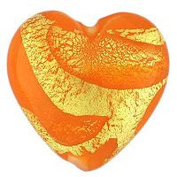 Lampwork Czech-18x18 Gold Foil Hearts-Orange