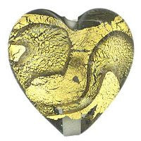 Lampwork Czech-18x18 Gold Foil Hearts-Black Diamond