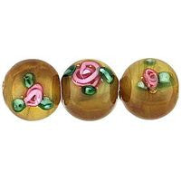 Lampwork Czech - Round Flower - Brown