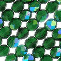 Czech Glass-6mmFirepolish-AB Colors-Green Emerald AB
