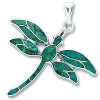Sterling Dragonfly - Green Turquiose