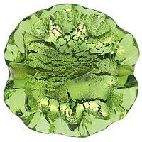 Lampwork Czech - Ruffled Silver Foil Leave 20/20mm-Olivine