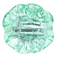 Lampwork Czech - Ruffled Silver Foil Leave 20/20mm-Dark Peridot