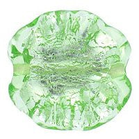 Lampwork Czech - Ruffled Silver Foil Leave 20/20mm-Peridot