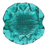 Lampwork Czech - Ruffled Silver Foil Leave 20/20mm-Emerald
