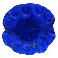 Lampwork Czech - Ruffled Silver Foil Leave 20/20mm-Cobalt
