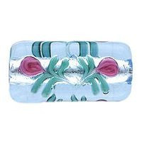 Lampwork Czech - 18/10mm Flat Silver Foil Flower Rectangle - Light Sapphire