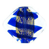 Lampwork Czech - 19/23mm Gold Foil Flat Diamond Swirl - Cobalt