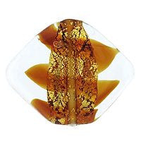 Lampwork Czech - 19/23mm Gold Foil Flat Diamond Swirl - Topaz