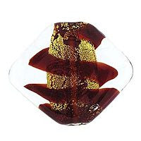 Lampwork Czech - 19/23mm Gold Foil Flat Diamond Swirl - Siam Ruby