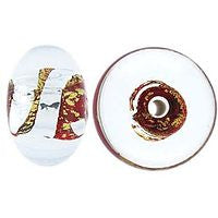 Lampwork Czech - 8x12mm Gold & Silver Foil Bantam Donut - Light Siam Ruby