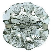 Lampwork Czech - Ruffled Silver Foil Leave 20/20mm-Black Diamond