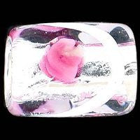 Lampwork Czech - Silver Foil Rectangle Swirl 11/8mm-Crystal