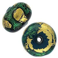 Lampwork Czech - 9x12mm Gold Foil Donut - Emerald