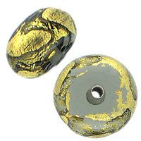 Lampwork Czech - 9x12mm Gold Foil Donut - Black Diamond