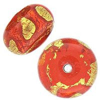 Lampwork Czech - 9x12mm Gold Foil Donut - Hyacinth