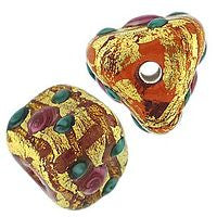 Lampwork Czech - 6x10m Gold Foil Flower Triangles - Topaz