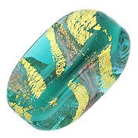 Lampwork Czech - 19x13m Baroque Wedge - Emerald