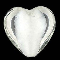 Lampwork Czech - 18m Satin Heart - Crystal