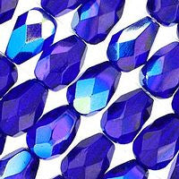 Czech Glass - 7x5mm Firepolish Teardrop - Cobalt AB