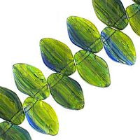 Czech Glass 12x7m Leaves - Hurricane Yellow Green Blue