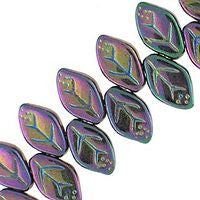 Czech Glass 12x7m Leaves - Iris Purple