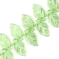 Czech Glass 12x7m Leaves - Luster Peridot