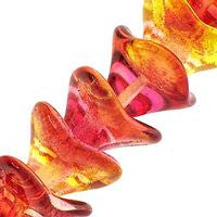 Czech Glass 10x12m 3 Petal Flower - Coated Fuschia Lemon