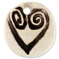 Ceramic Pendants - 26m Heart - Natural