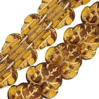Czech Glass 13m 2 Hole Maple Leaves - Topaz Gold Inlay