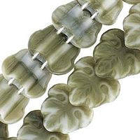 Czech Glass 13m 2 Hole Maple Leaves - Khaki Grey