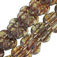 Czech Glass 13m 2 Hole Maple Leaves - Luster Transparent Green