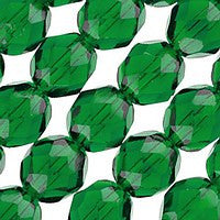 Czech Glass - 8mm Firepolish - Plain Colors - Green Emerald