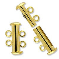 Plated - 2 Strand Slide Clasp - 2 sets per pack