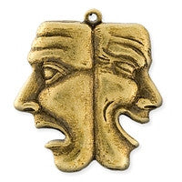 Antique Brass - Charm - 23x25mm Drama Faces