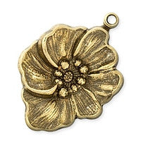 Antique Brass - Charm - 19x27mm Poppy
