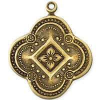 Antique Brass - Charm - 23x27mm Diamond Flower