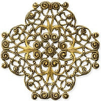 Antique Brass - Filigree - 44x44mm 4 hearts