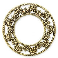 Antique Brass - Circle - 46mm Open Shell