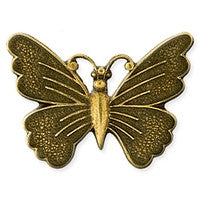 Antique Brass - No Hole Charm - 22x30mm Butterfly