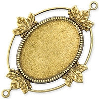 Antique Brass - Cabachon Bezel - 34x48mm 2 Hole Leaves