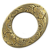 Antique Brass - Frame - 28x37mm No Hole Flowered Oval
