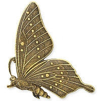 Antique Brass - No Hole Charm - 33x46mm Butterfly