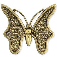 Antique Brass - No Hole Charm - 53x59mm Butterfly