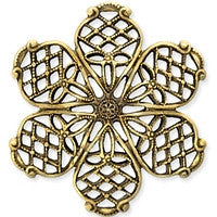 Antique Brass - Filigree - 32x35mm Lg 6 Petals